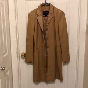 Tan leather trench